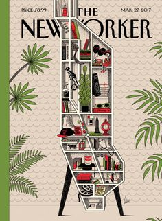Manhattan map as bookcase. New Yorker magazine cover March, 2017.