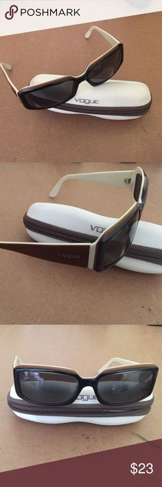 VOGUE Prescription Sunglasses w Case-Made in Italy Here is a nice pair of Vogue sunglasses please note that they are prescription sunglasses and lenses will need to be changed to fit your needs. The left lens it is sort of popping out on these but I guess it doesn't matter as the prescription lenses will come out!  They are a little too wide for my head which is why I am selling .  Make me an offer! Vogue Accessories Sunglasses