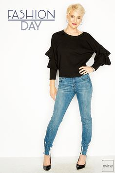 ca1be5603b073 mōd x Sweater Knit Ruffled Sleeve Extended Shoulder Scoop Neck Top on sale  at evine.com