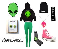 """""""Aliens Are Real"""" by laurenhand ❤ liked on Polyvore featuring RIPNDIP, Nicopanda, WearAll and Converse"""