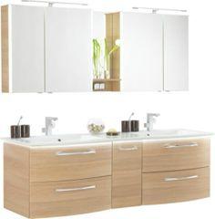 badmöbel set r1442r walnuss doppelwaschbecken spiegelschrank hoher, Hause ideen