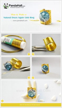 Natural Druzy Agate Link Ring Nowadays, simplicity become the trend in pursuing . - Natural Druzy Agate Link Ring Nowadays, simplicity become the trend in pursuing the beauty. Diy Jewelry Unique, Diy Jewelry To Sell, Jewelry Crafts, Jewelry Art, Beaded Jewelry, Handmade Jewelry, Jewelry Making, Fine Jewelry, Natural Jewelry