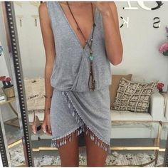 V-neck irregular lace Summer Dress