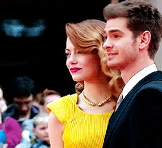 Andrew Garfield and Emma Stone attend the world premiere of 'The Amazing Spider-Man 2' at The Odeon Leicester Square on April 10, 2014 in London, England.