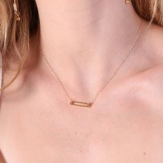Rectangle gold necklace Gold necklace small gold necklace by Avnis