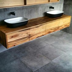 Timber vanity with large grey tiles, black tap ware but white basins Images Of Small Bathrooms, Small Space Bathroom, Modern Master Bathroom, Minimalist Bathroom, Modern Bathroom Design, Master Bedroom, Bedroom Decor, Bathroom Cabinets Over Toilet, Painting Bathroom Cabinets