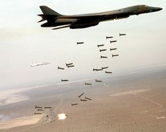 b1 bomber dropping bombs on iraq