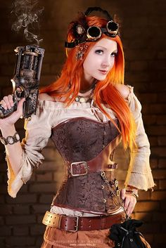 redhead steampunk cosplay gun goggles jewelry corset cameo necklace bracelet