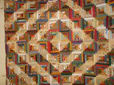 Queen Bed Quilt   Log cabin quilt 32 by pamscrafts7631 on Etsy, $355.00