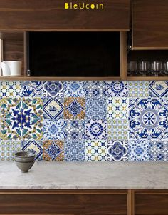 Portuguese tile decal This pack contains 11 design, & you will receive 11 x 4 = 44 tile decals We have created & mixed Portugal designs for your Tile Decals, Wall Tiles, Backsplash Tile, Portuguese Tiles, Minimalist Kitchen, Modern Minimalist, Cuisines Design, Kitchen Tiles, Kitchen Interior