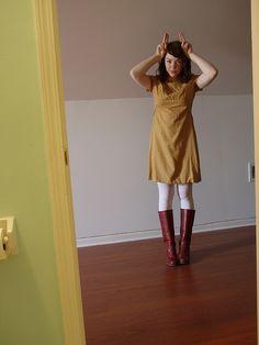 I like a simple dress with boots.