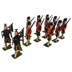 'Gordon Highlanders' lead alloy hollow-cast, individually hand-painted, toy soldiers, mfg by All Britains Ltd. c.1948-1960