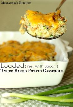 This Loaded Twice Baked Potato Casserole is delicious, easy to make, and full of bacon.  You will love my secret, easy trick to keep the casserole from getting gluey.  I serve this all the time as a side dish, main dish and for holidays.  It is perfect wi