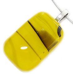 Handgemaakte gele hanger van glas met zwarte accenten!