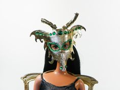 Leather Barbie Mask  Golden Dragon Mask  Green by MacWadeStudios
