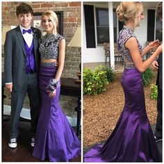Two piece mermaid style prom dress Very rich purple, form fitting and bejeweled with rhinestones. 2 piece, with a train Dresses Prom
