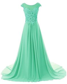 Endofjune Chiffon Bridesmaid Beaded Lace Ruffle Dress US-2 Mint >>> Read more  at the image link. (This is an affiliate link and I receive a commission for the sales)