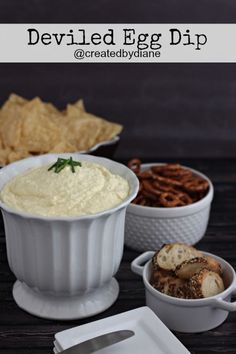 this dip is so versatile, you can enjoy the great taste of deviled eggs in dip form. Great on chips and pretzels, slathered on bread and great on a BLT sandwich