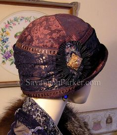 Antique Style 1920s AubergineBrown Navy Vintage Downton Abbey Gatsby cloche hat by savannahparker on Etsy