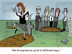 Woman dancing on a grave - 'We all express our grief in different ways...'