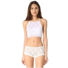 Hanky Panky Signature Lace Ali Crop Tank ($52) ❤ liked on Polyvore featuring tops, white, lace crop top, crop tank, white crop tank, high neck tank and white lace top