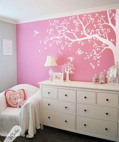 Unisex Nursery corner tree with birds, All white wall decals, Tattoo KW006ExMono | eBay