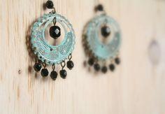 Turquoise Patina & Black Glass Chandelier Earrings by TesoroDelSol, $15.00