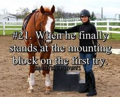 When he finally stands at the mounting block on the first try.