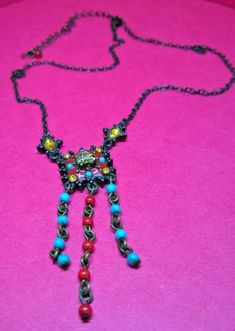 Costume Jewellery Avon blue and red Bead and amber-coloured stones necklace