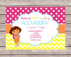Dora Invitation personalized and printable 5x7 by MadeWithLoveJJ, $12.99