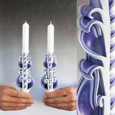 Taper candles Candle set Carved candles Purple by primacandle, $17.00