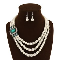 ABS Plastic #Pearl Jewelry Set, with #Crystal and #Rhinestones, 3-strand, more colors.