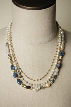 Unique Chunky Gemstone and Pearl Multi strand Necklace for Women | Anne Vaughan Handmade Designer Jewelry