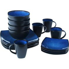 Blue Dishes! Soho Lounge Square 16-Piece Dinnerware Set, Blue - walmart