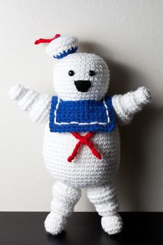 Crocheted Mr Stay Puft Marshmallow Man from Ghostbusters by Cuddlefish Crafts on Etsy