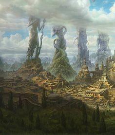 Epic Fantasy Fantasy City Concept Art