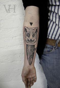 fox, whale, triangle, geometrical, simplistic, folk tattoo