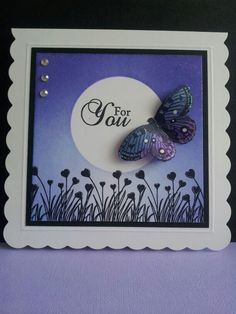 Indigo blue free butterfly stamp, clarity heart grass stamp.