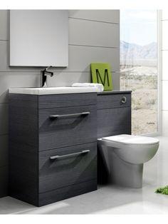 Carla Grey Slimline 60cm Combination Unit - 2 Drawer - 1215mm - with Toilet     £516