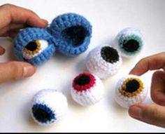 inspiration: Double Monster Eyes - Ok it's not a skull, but it belongs in one.-Double Monster Eyes - just the pic. The actual site sells em forDouble Monster Eyes -- Pin it to hats, shoes, scarves, etc.Double Monster Eyes: maybe Grandma could help us Crochet Eyes, Knit Or Crochet, Crochet Stitches, Crochet Baby, Crochet Amigurumi, Amigurumi Patterns, Crochet Dolls, Crochet Patterns, Crochet Crafts