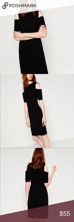 NWT Zara black dress, Size M Zara black shift dress with shoulder cut outs. Stretchy and flattering. Brand new, never worn, tags still on. Zara Dresses Midi