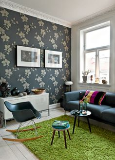 Like the Dark wall with white. Eames, How To Install Wallpaper, Inspirational Wallpapers, New Room, Designer Wallpaper, My House, Home And Garden, Design Inspiration, Indoor