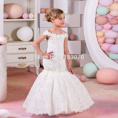 Cheap girls pageant dresses, Buy Quality communion dresses directly from China first communion dresses Suppliers: Lace Mermaid Flower Girl Dress 2016 Kids Birthday Party Gown Applique Cap Sleeve First Communion Dress Cheap Girls Pag