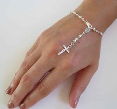 Sterling Silver 7 inch Rosary Bracelet by BravuraJewelry925