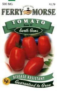 Ferry-Morse 1402 Tomato Seeds, Roma (500 Milligram Packet) by Ferry-morse. $1.79. From the Manufacturer                A heavy-yielding variety used for preserves, solid-pack canning, tomato paste and puree. Very little juice and of mild flavor. Determinate, large plants have good leaf cover. Disease resistant. This packet will produce more than 50 plants. To keep fruits clean and easier to pick, support plants with stakes or cages. Tomatoes require at least an inc...