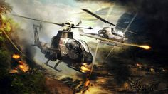 US attack helicopter in Vietnam