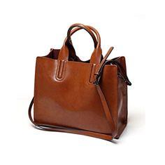 JeHouze Women's Genuine Leather Top Handle Purse Crossbod...
