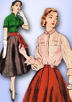 Simplicity Pattern 3743 Misses' Skirt and Blouse Pattern with Stunning Tucks Across the Shoulders A Simple to Make Design Dated 1951 Complete Nice Condition Uncut but Not Factory Folded Nice Condition