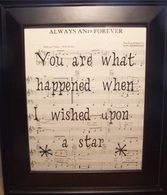 Frame sheet music from wedding first dance in frame...another possible sister/new-brother-in-law christmas present.