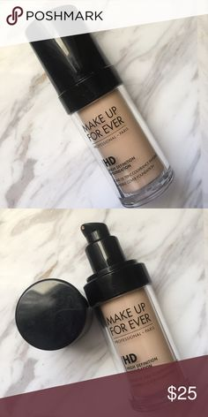 Make Up Forever HD Foundation in 118 A like new bottle of MUFE's HD foundation.  It is the fourth lightest shade in the range, with a pale yellow undertone. Used only once. No box. Makeup Forever Makeup Foundation
